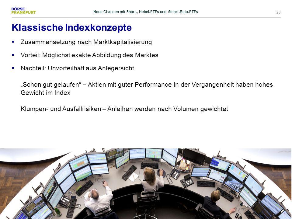 26 Klassische Indexkonzepte  Zusammensetzung nach Marktkapitalisierung  Vorteil: Möglichst exakte Abbildung des Marktes  Nachteil: Unvorteilhaft au