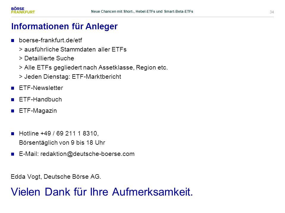34 Informationen für Anleger boerse-frankfurt.de/etf > ausführliche Stammdaten aller ETFs > Detaillierte Suche > Alle ETFs gegliedert nach Assetklasse
