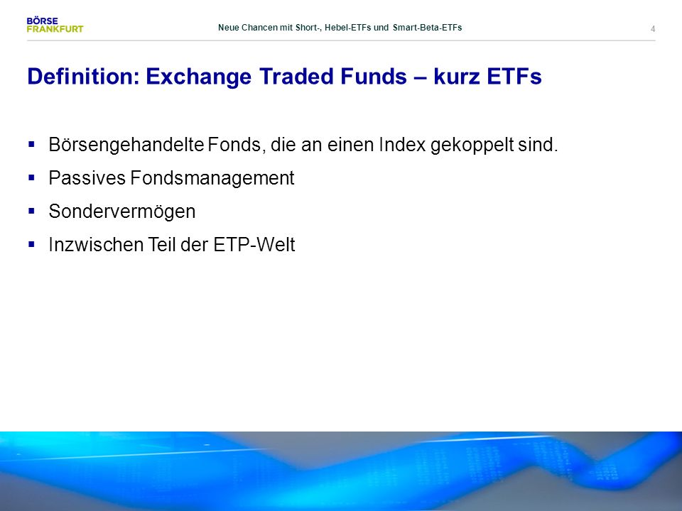 25 Klassische Indexkonzepte  Zusammensetzung nach Marktkapitalisierung  Vorteil: Möglichst exakte Abbildung des Marktes  Nachteil: Unvorteilhaft aus Anlegersicht Neue Chancen mit Short-, Hebel-ETFs und Smart-Beta-ETFs
