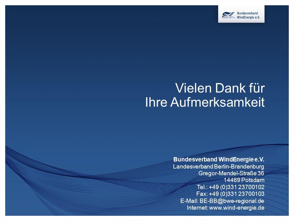Vielen Dank für Ihre Aufmerksamkeit Bundesverband WindEnergie e.V. Landesverband Berlin-Brandenburg Gregor-Mendel-Straße 36 14469 Potsdam Tel.: +49 (0
