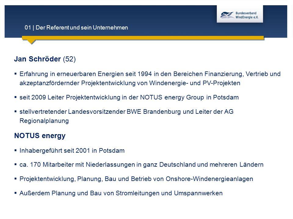 01 | Der Referent und sein Unternehmen Jan Schröder (52)  Erfahrung in erneuerbaren Energien seit 1994 in den Bereichen Finanzierung, Vertrieb und ak