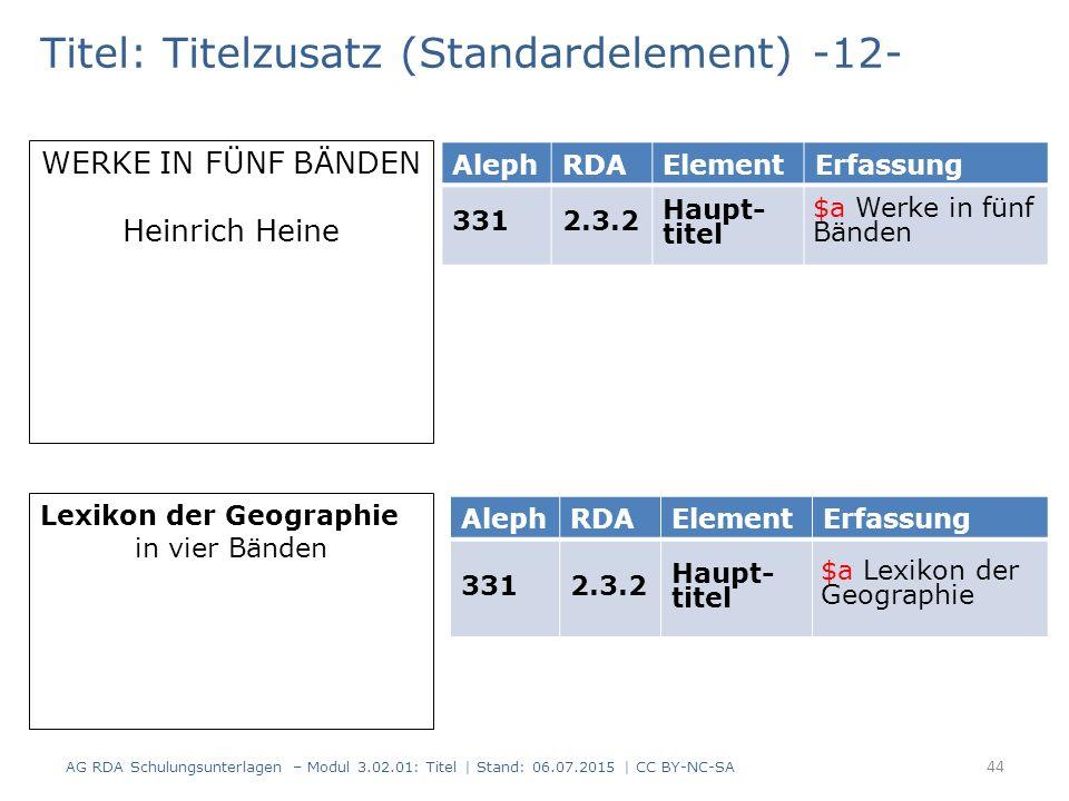 Titel: Titelzusatz (Standardelement) -12- AlephRDAElementErfassung 3312.3.2 Haupt- titel WERKE IN FÜNF BÄNDEN Heinrich Heine Lexikon der Geographie in