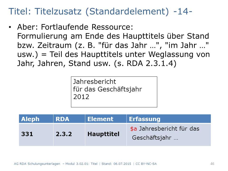 Titel: Titelzusatz (Standardelement) -14- Aber: Fortlaufende Ressource: Formulierung am Ende des Haupttitels über Stand bzw. Zeitraum (z. B.
