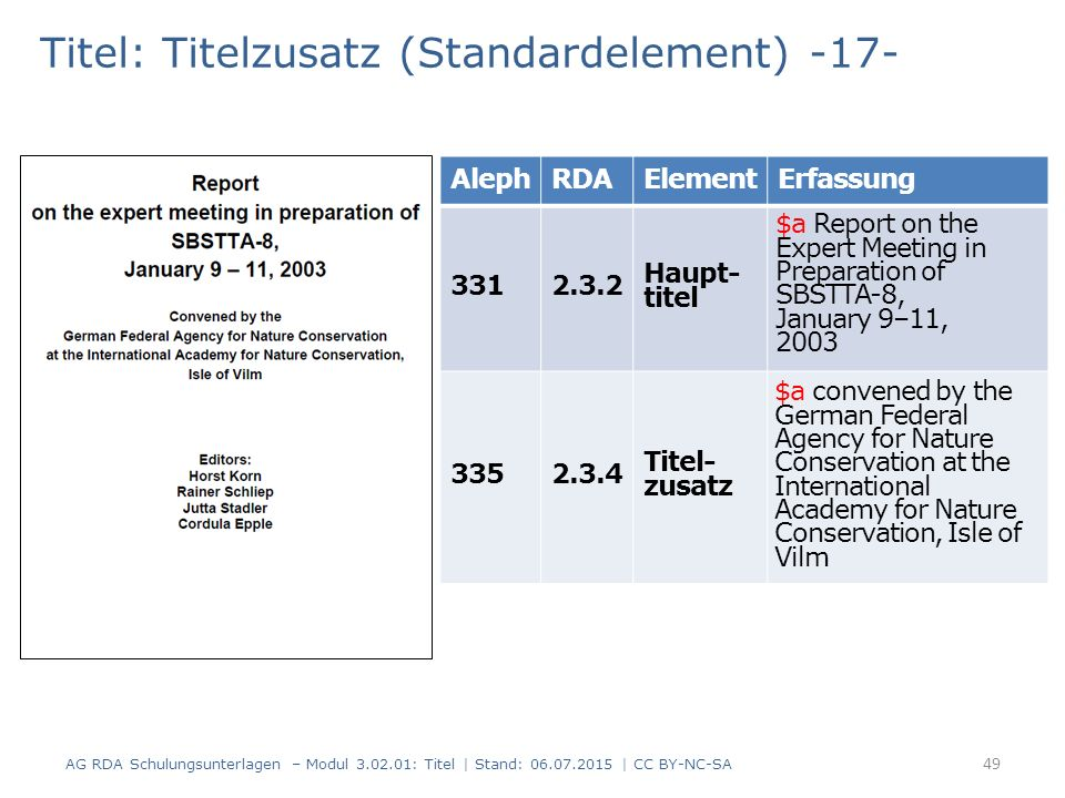 Titel: Titelzusatz (Standardelement) -17- AlephRDAElementErfassung Haupt- titel Titel- zusatz 49 AG RDA Schulungsunterlagen – Modul : Titel | Stand: | CC BY-NC-SA $a Report on the Expert Meeting in Preparation of SBSTTA-8, January 9–11, 2003 $a convened by the German Federal Agency for Nature Conservation at the International Academy for Nature Conservation, Isle of Vilm