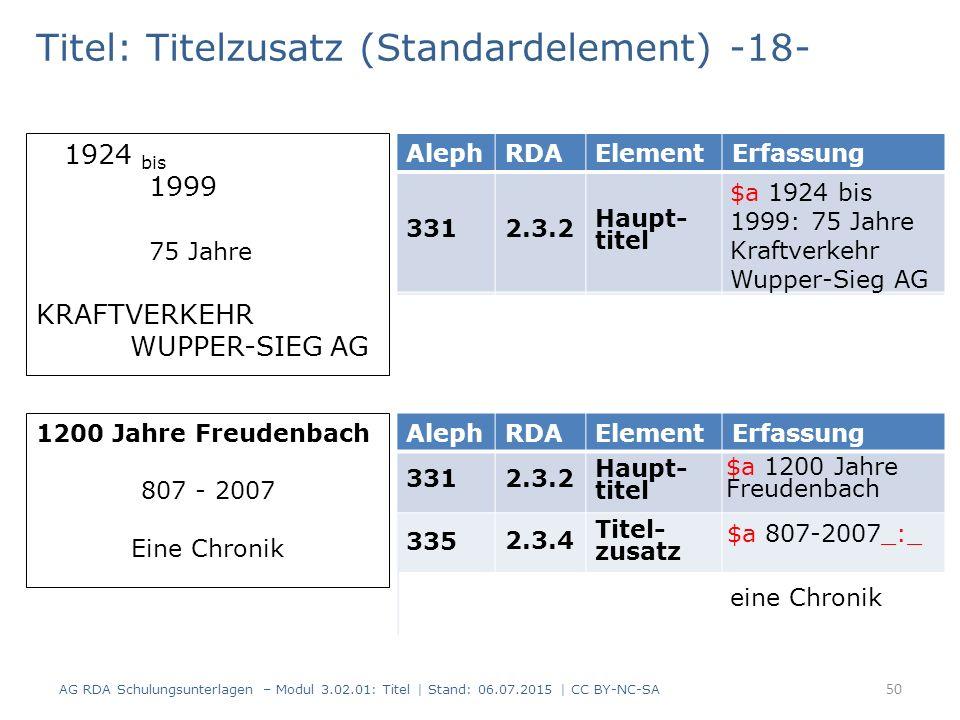 Titel: Titelzusatz (Standardelement) -18- AlephRDAElementErfassung 3312.3.2 Haupt- titel 3352.3.4 Titel- zusatz 1924 bis 1999 75 Jahre KRAFTVERKEHR WUPPER-SIEG AG 1200 Jahre Freudenbach 807 - 2007 Eine Chronik AlephRDAElementErfassung 3312.3.2 Haupt- titel 335 2.3.4 Titel- zusatz 2.3.4 Titel- zusatz 50 AG RDA Schulungsunterlagen – Modul 3.02.01: Titel | Stand: 06.07.2015 | CC BY-NC-SA $a 1924 bis 1999: 75 Jahre Kraftverkehr Wupper-Sieg AG $a 1200 Jahre Freudenbach $a 807-2007_:_ eine Chronik