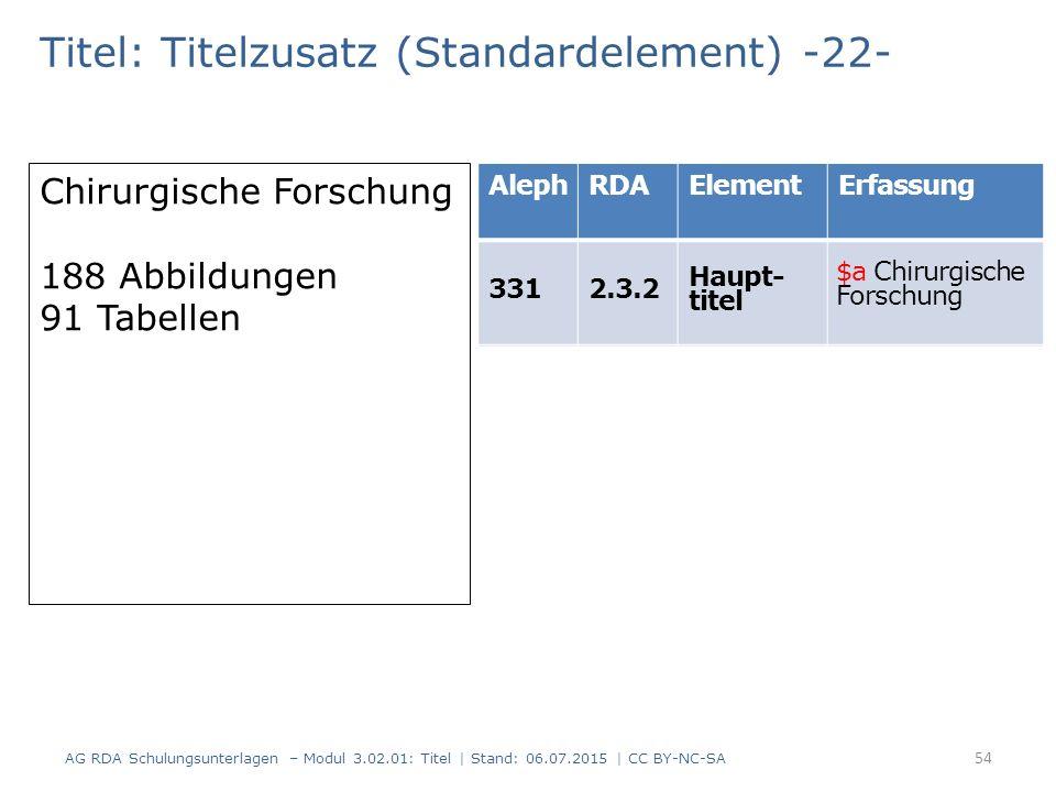 Titel: Titelzusatz (Standardelement) -22- Chirurgische Forschung 188 Abbildungen 91 Tabellen AlephRDAElementErfassung 3312.3.2 Haupt- titel 4347.15 Il