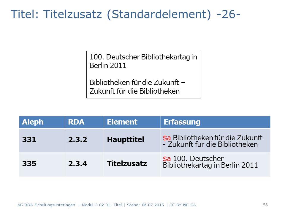 Titel: Titelzusatz (Standardelement) -26- 100. Deutscher Bibliothekartag in Berlin 2011 Bibliotheken für die Zukunft – Zukunft für die Bibliotheken Al