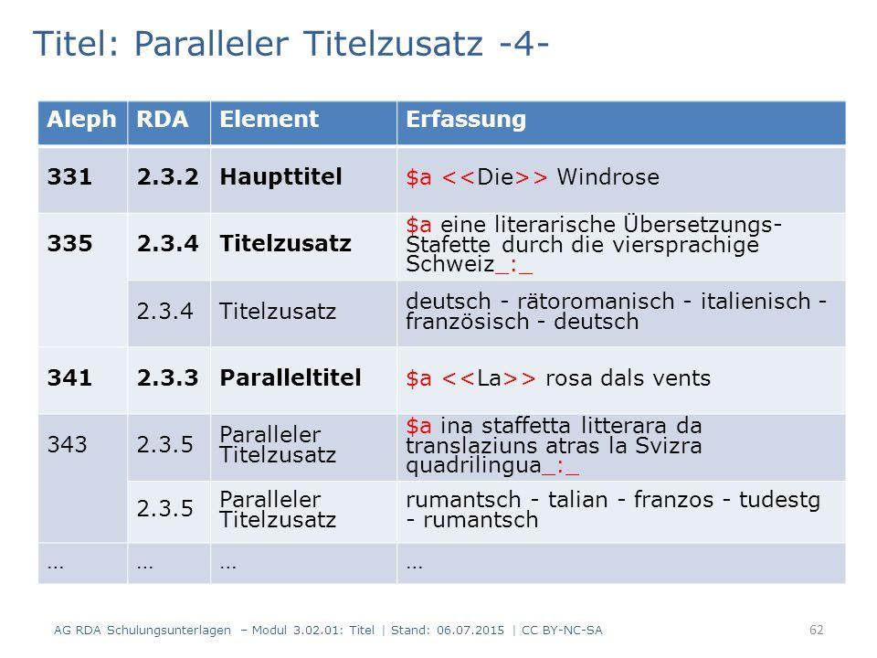 Titel: Paralleler Titelzusatz -4- AlephRDAElementErfassung 3312.3.2Haupttitel$a > Windrose 335 2.3.4Titelzusatz $a eine literarische Übersetzungs- Stafette durch die viersprachige Schweiz_:_ 2.3.4Titelzusatz deutsch - rätoromanisch - italienisch - französisch - deutsch 3412.3.3Paralleltitel$a > rosa dals vents 343 2.3.5 Paralleler Titelzusatz $a ina staffetta litterara da translaziuns atras la Svizra quadrilingua_:_ 2.3.5 Paralleler Titelzusatz rumantsch - talian - franzos - tudestg - rumantsch ………… 62 AG RDA Schulungsunterlagen – Modul 3.02.01: Titel | Stand: 06.07.2015 | CC BY-NC-SA