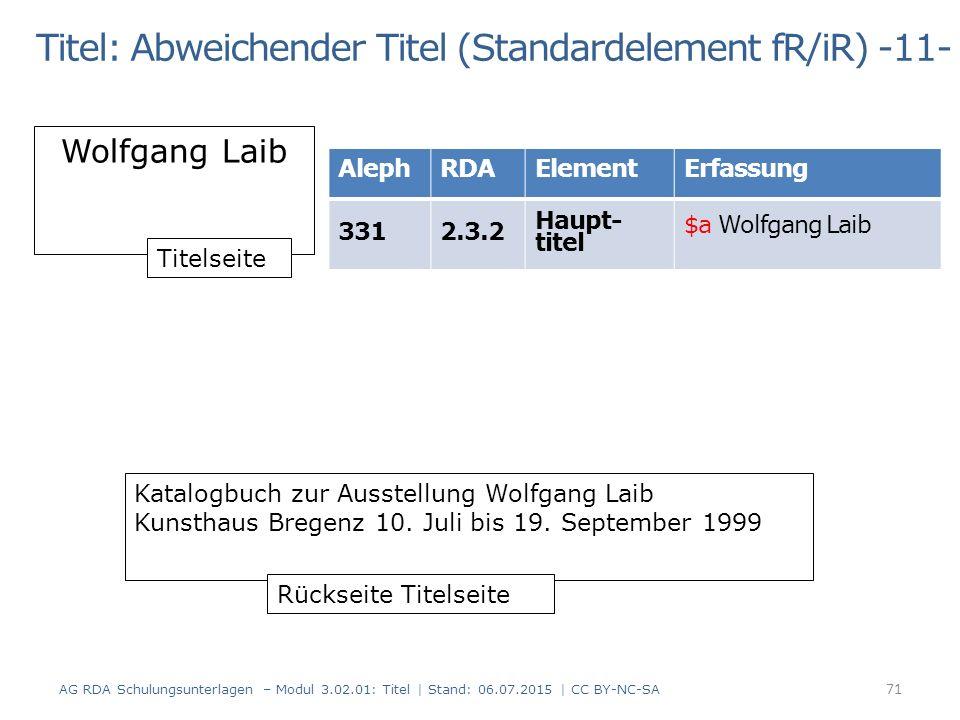 Titel: Abweichender Titel (Standardelement fR/iR) -11- Wolfgang Laib Katalogbuch zur Ausstellung Wolfgang Laib Kunsthaus Bregenz 10.