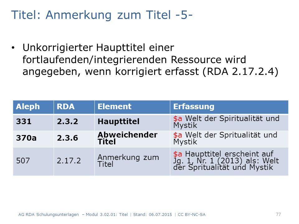 Titel: Anmerkung zum Titel -5- Unkorrigierter Haupttitel einer fortlaufenden/integrierenden Ressource wird angegeben, wenn korrigiert erfasst (RDA 2.1