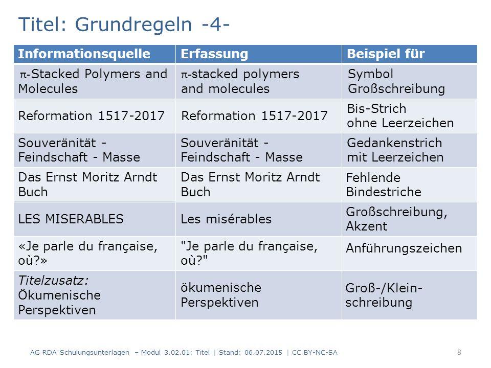Titel: Haupttitel (Standardelement) -5- Titel in mehreren Formen 19 AG RDA Schulungsunterlagen – Modul 3.02.01: Titel | Stand: 06.07.2015 | CC BY-NC-SA