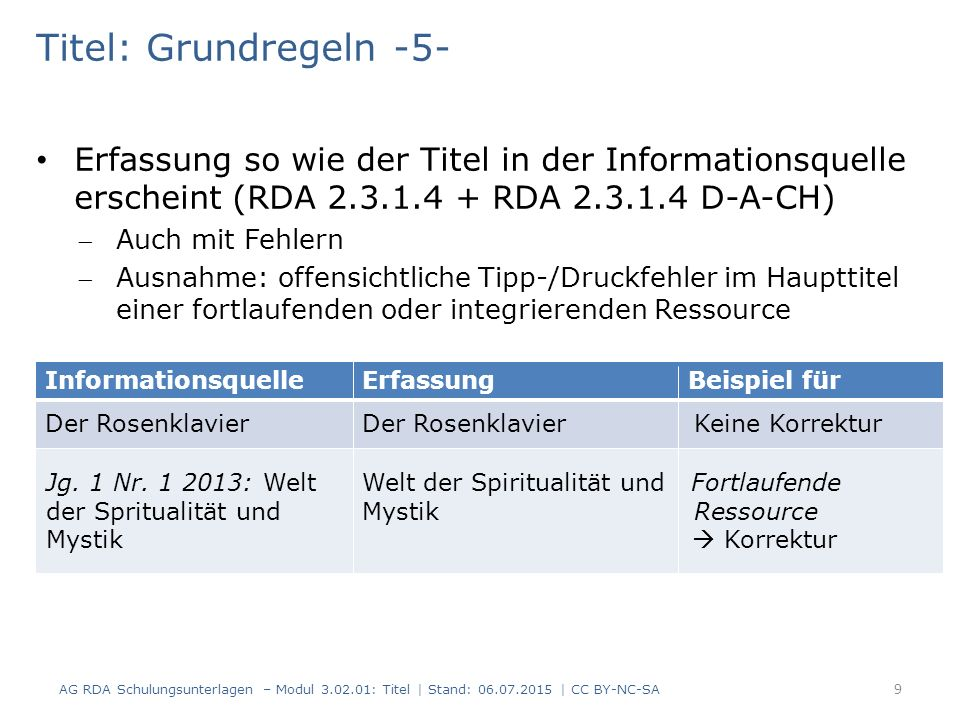 Titel: Grundregeln -5- Erfassung so wie der Titel in der Informationsquelle erscheint (RDA 2.3.1.4 + RDA 2.3.1.4 D-A-CH) Auch mit Fehlern Ausnahme: