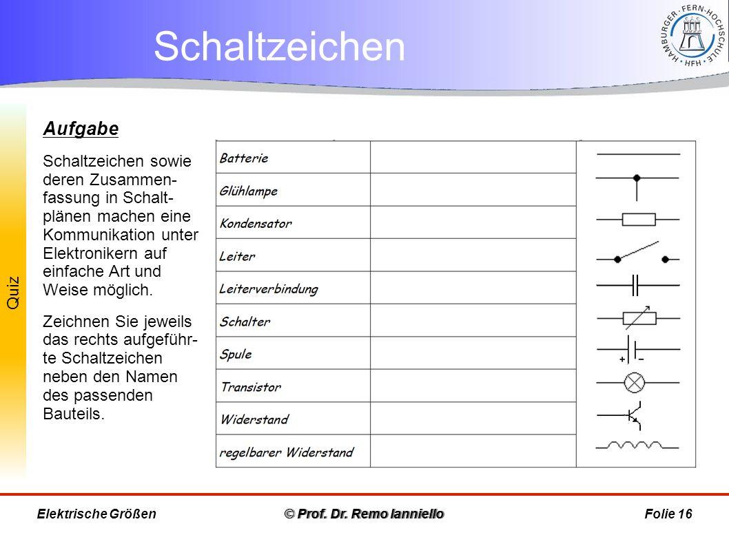 Quiz Schaltzeichen © Prof. Dr. Remo IannielloFolie 16 Aufgabe Schaltzeichen sowie deren Zusammen- fassung in Schalt- plänen machen eine Kommunikation