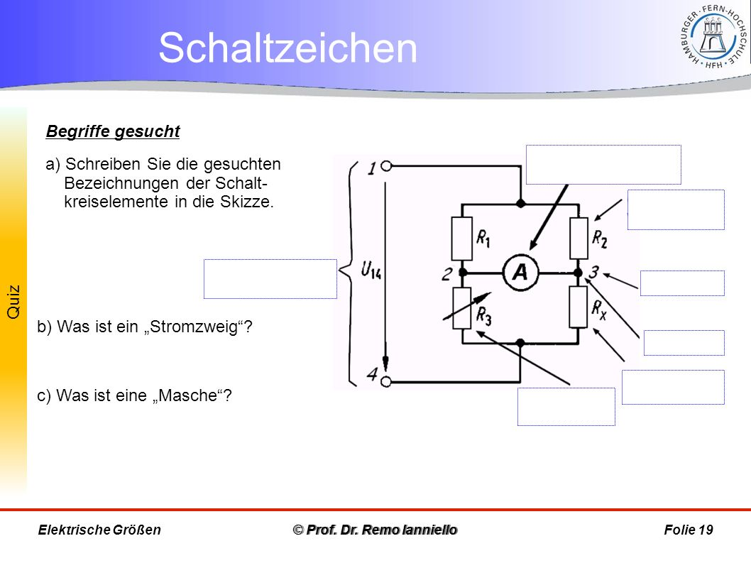 Quiz Schaltzeichen © Prof. Dr. Remo IannielloFolie 19 Begriffe gesucht a) Schreiben Sie die gesuchten Bezeichnungen der Schalt- kreiselemente in die S