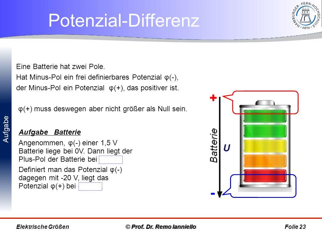 Aufgabe Potenzial-Differenz © Prof. Dr. Remo IannielloFolie 23 Aufgabe Batterie Angenommen, φ(-) einer 1,5 V Batterie liege bei 0V. Dann liegt der Plu
