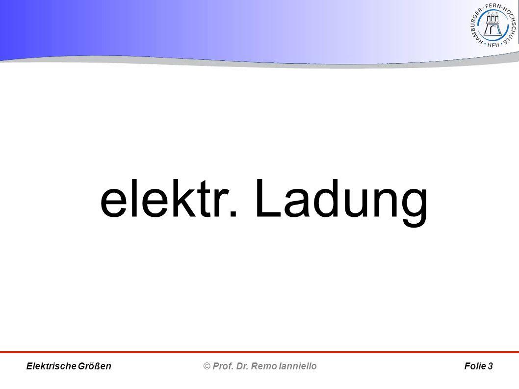 elektr. Ladung © Prof. Dr. Remo IannielloFolie 3Elektrische Größen