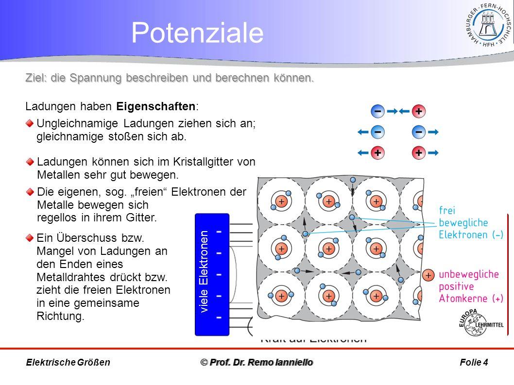 Potenziale © Prof. Dr. Remo IannielloFolie 4Elektrische Größen Ladungen haben Eigenschaften: Ungleichnamige Ladungen ziehen sich an; gleichnamige stoß