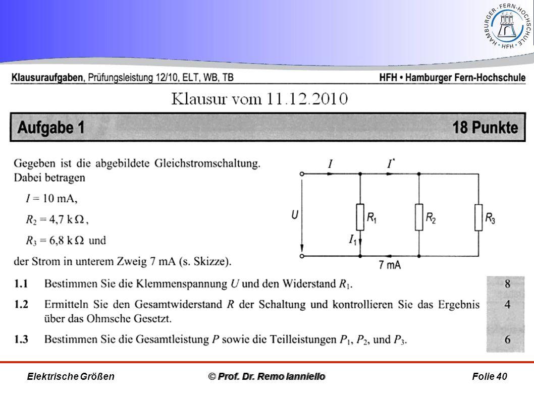 © Prof. Dr. Remo IannielloFolie 40 © Prof. Dr. Remo Ianniello Elektrische Größen