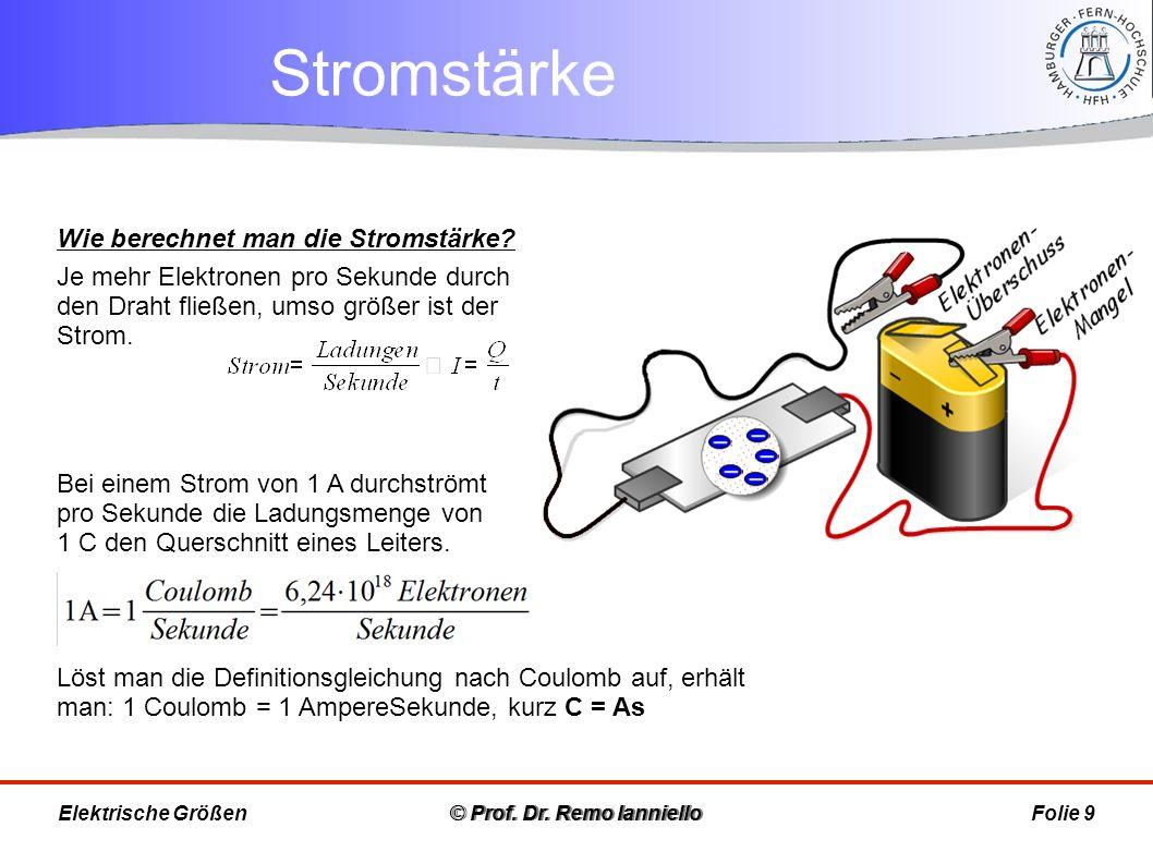 Stromstärke © Prof. Dr. Remo IannielloFolie 9 Wie berechnet man die Stromstärke? Je mehr Elektronen pro Sekunde durch den Draht fließen, umso größer i