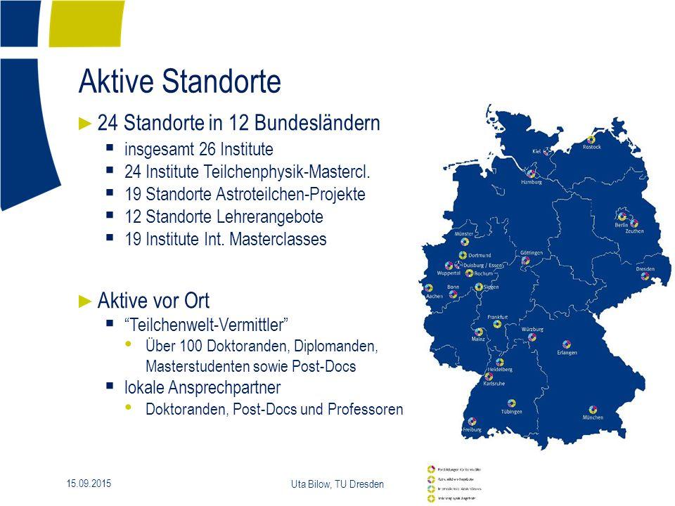 15.09.2015 Uta Bilow, TU Dresden 11 Aktive Standorte ► 24 Standorte in 12 Bundesländern  insgesamt 26 Institute  24 Institute Teilchenphysik-Mastercl.