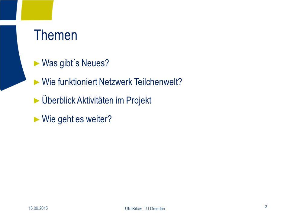 Themen 2 15.09.2015 Uta Bilow, TU Dresden ► Was gibt´s Neues.