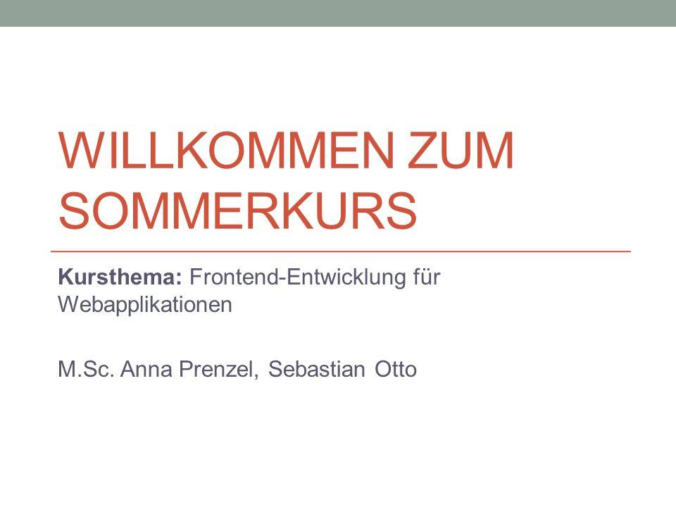 WILLKOMMEN ZUM SOMMERKURS Kursthema: Frontend-Entwicklung für Webapplikationen M.Sc.