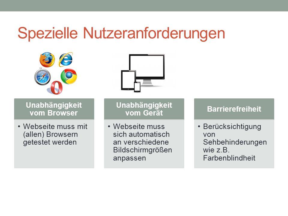 Spezielle Nutzeranforderungen Unabhängigkeit vom Browser Webseite muss mit (allen) Browsern getestet werden Unabhängigkeit vom Gerät Webseite muss sich automatisch an verschiedene Bildschirmgrößen anpassen Barrierefreiheit Berücksichtigung von Sehbehinderungen wie z.B.