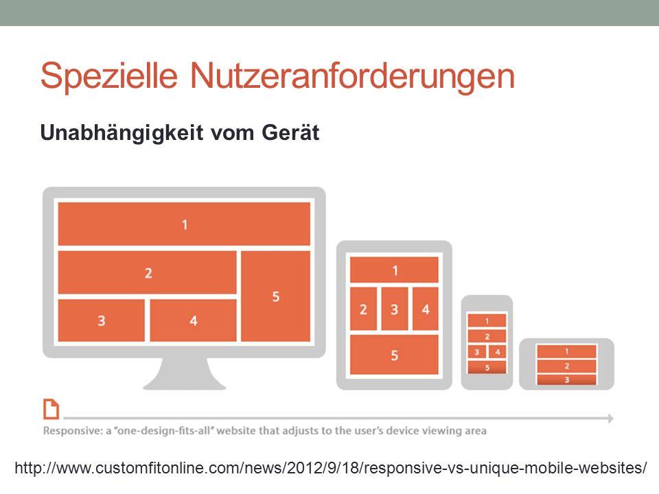 Spezielle Nutzeranforderungen http://www.customfitonline.com/news/2012/9/18/responsive-vs-unique-mobile-websites/ Unabhängigkeit vom Gerät