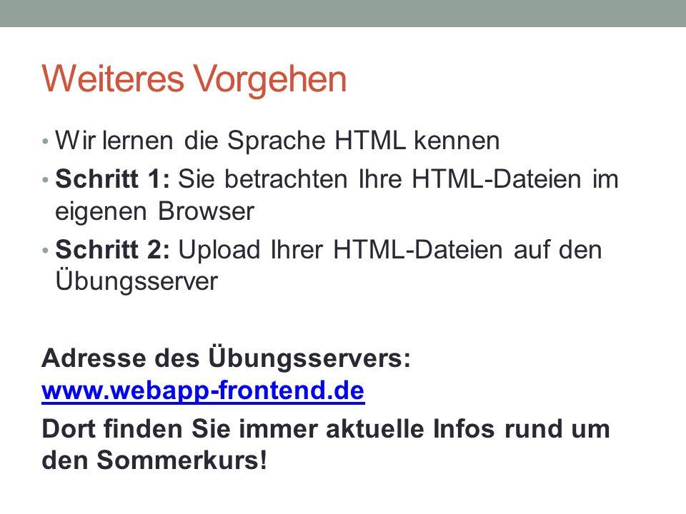 Weiteres Vorgehen Wir lernen die Sprache HTML kennen Schritt 1: Sie betrachten Ihre HTML-Dateien im eigenen Browser Schritt 2: Upload Ihrer HTML-Dateien auf den Übungsserver Adresse des Übungsservers: www.webapp-frontend.de www.webapp-frontend.de Dort finden Sie immer aktuelle Infos rund um den Sommerkurs!