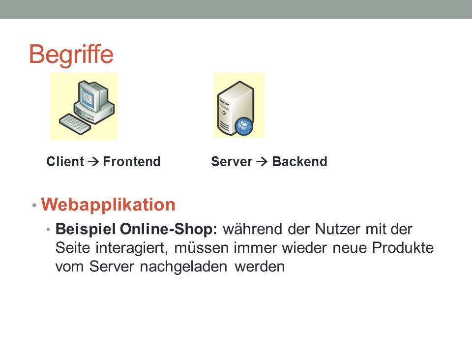 Begriffe Webapplikation Beispiel Online-Shop: während der Nutzer mit der Seite interagiert, müssen immer wieder neue Produkte vom Server nachgeladen werden Client  FrontendServer  Backend