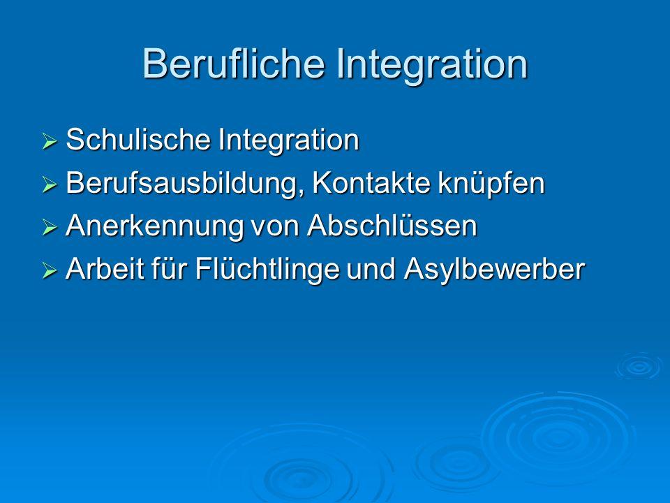 Berufliche Integration  Schulische Integration  Berufsausbildung, Kontakte knüpfen  Anerkennung von Abschlüssen  Arbeit für Flüchtlinge und Asylbe