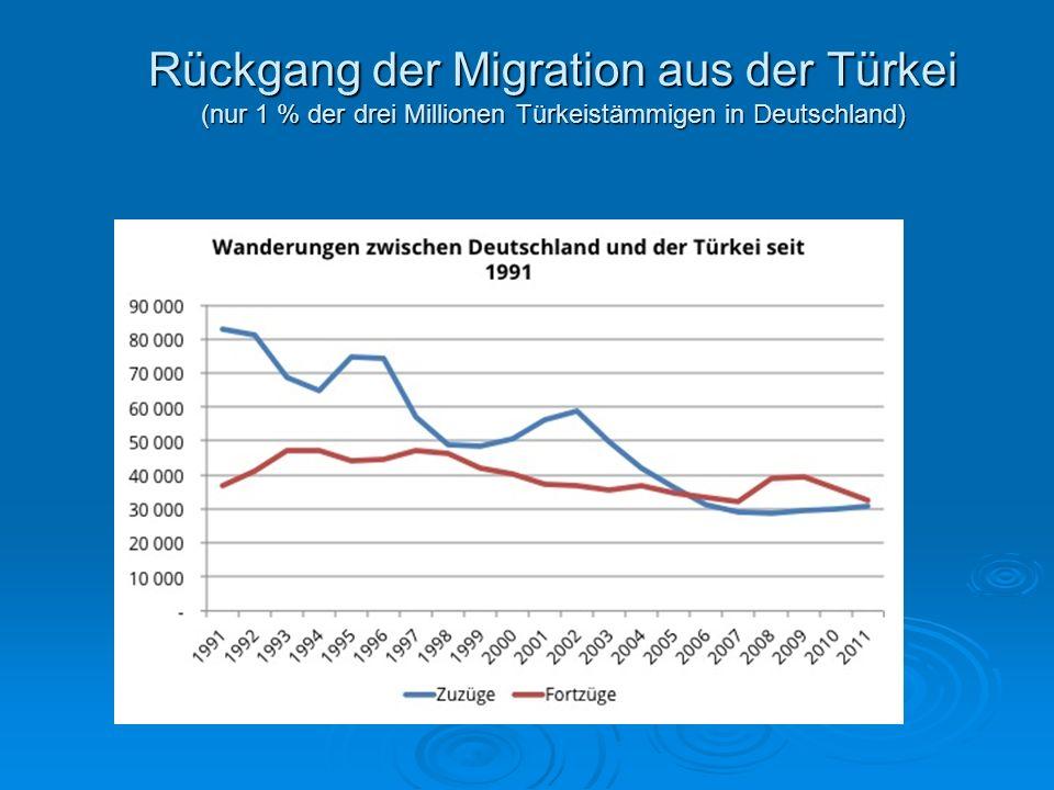 Rückgang der Migration aus der Türkei (nur 1 % der drei Millionen Türkeistämmigen in Deutschland)