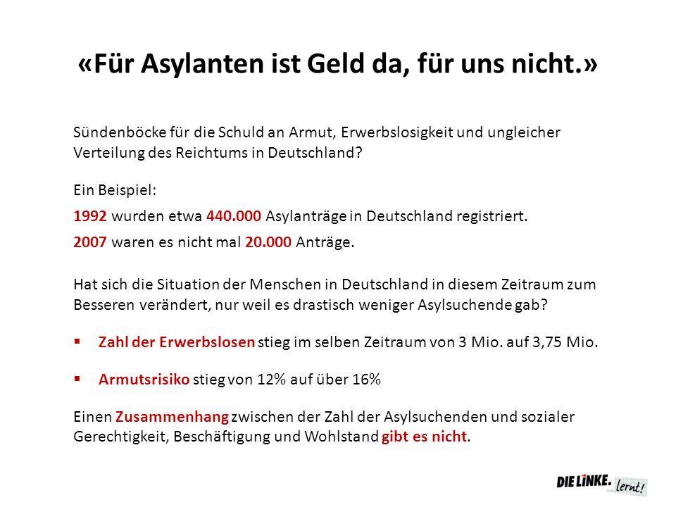 «Für Asylanten ist Geld da, für uns nicht.» Sündenböcke für die Schuld an Armut, Erwerbslosigkeit und ungleicher Verteilung des Reichtums in Deutschla