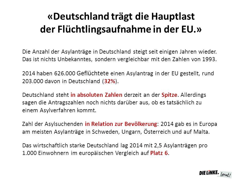 «Deutschland trägt die Hauptlast der Flüchtlingsaufnahme in der EU.» Die Anzahl der Asylanträge in Deutschland steigt seit einigen Jahren wieder.