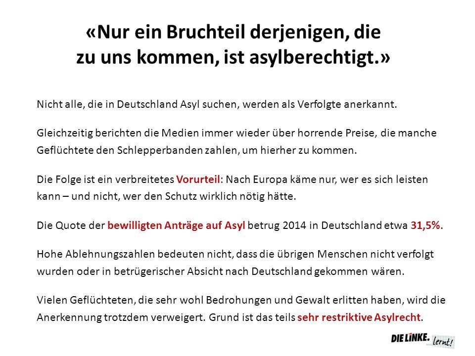 «Nur ein Bruchteil derjenigen, die zu uns kommen, ist asylberechtigt.» Nicht alle, die in Deutschland Asyl suchen, werden als Verfolgte anerkannt.
