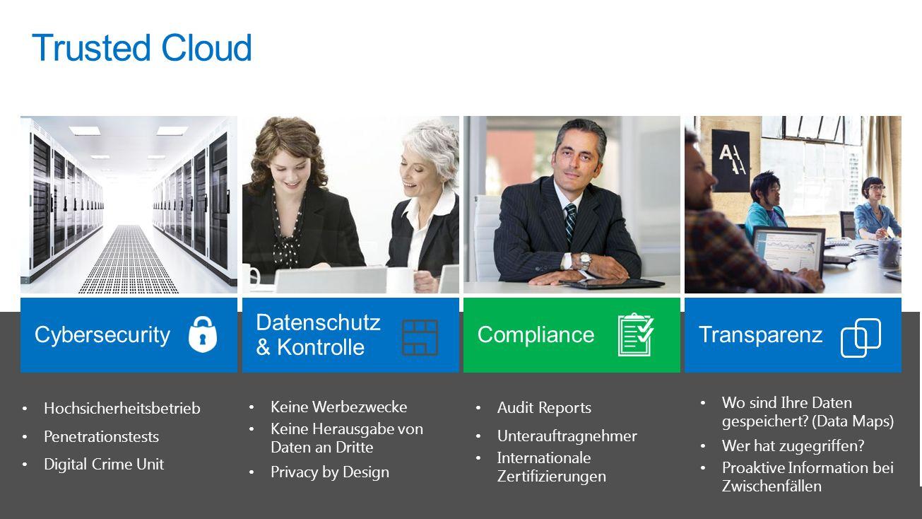 Trusted Cloud Wo sind Ihre Daten gespeichert? (Data Maps) Wer hat zugegriffen? Proaktive Information bei Zwischenfällen Hochsicherheitsbetrieb Penetra