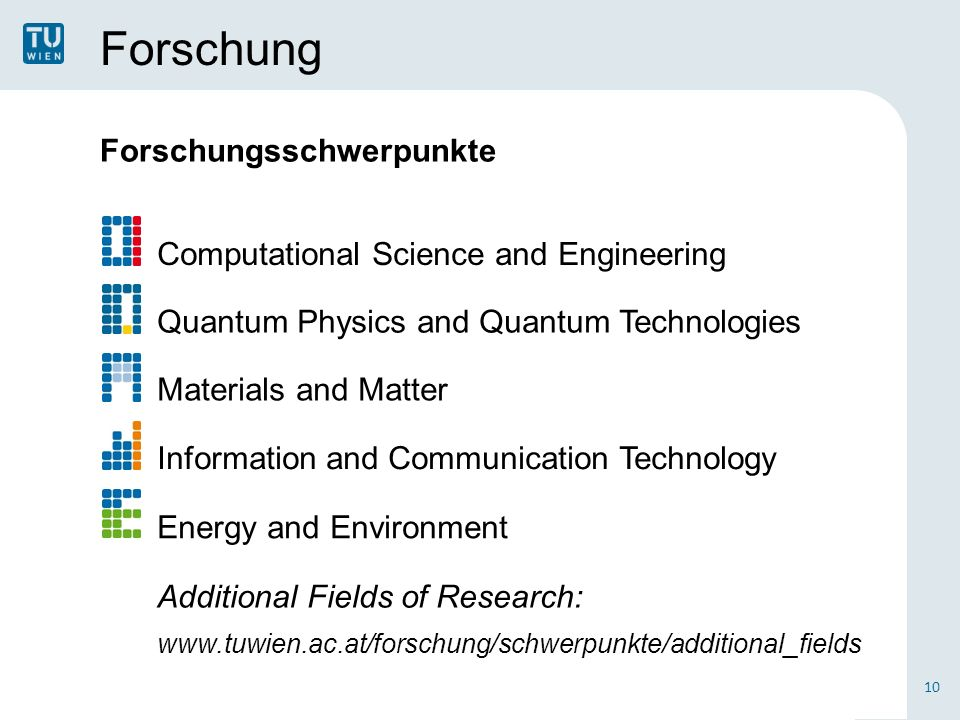 Forschung Forschungsschwerpunkte 10 Computational Science and Engineering Quantum Physics and Quantum Technologies Materials and Matter Information and Communication Technology Energy and Environment Additional Fields of Research: www.tuwien.ac.at/forschung/schwerpunkte/additional_fields