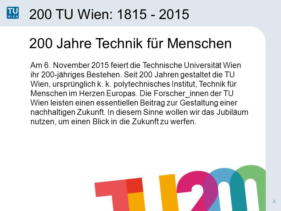 200 TU Wien: 1815 - 2015 4 200 Jahre Forschung, Lehre und Innovation Als zukunftsorientierte Forschungseinrichtung ergreifen wir Maßnahmen mit Folgewirkungen über das Jubiläumsjahr hinaus.