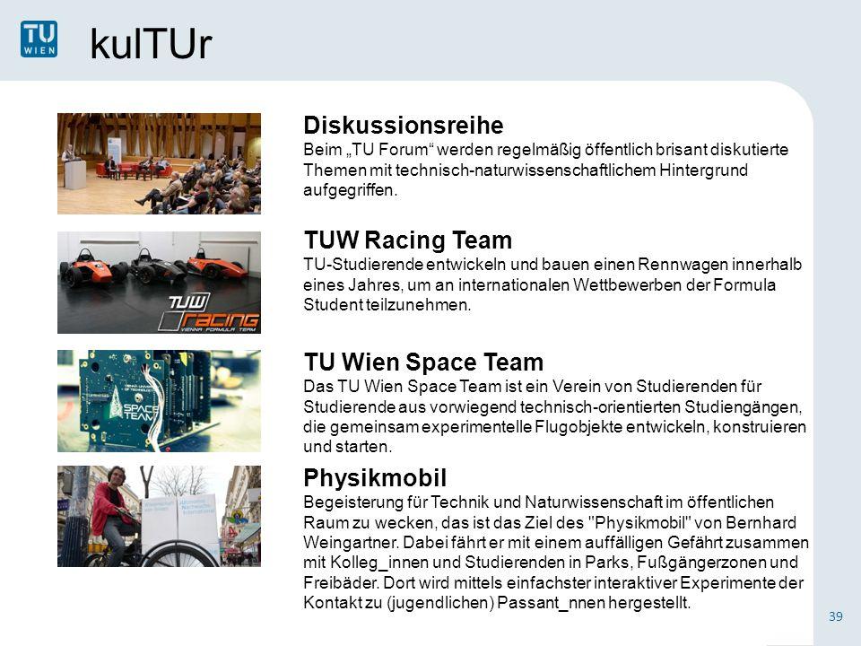 """kulTUr Diskussionsreihe Beim """"TU Forum werden regelmäßig öffentlich brisant diskutierte Themen mit technisch-naturwissenschaftlichem Hintergrund aufgegriffen."""