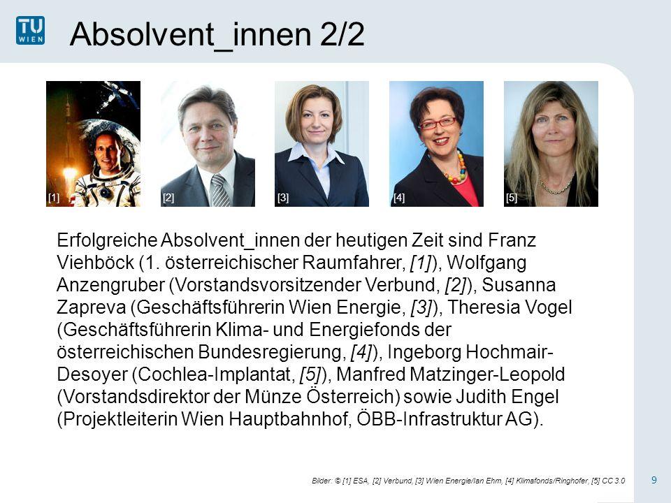 Absolvent_innen 2/2 9 Erfolgreiche Absolvent_innen der heutigen Zeit sind Franz Viehböck (1.