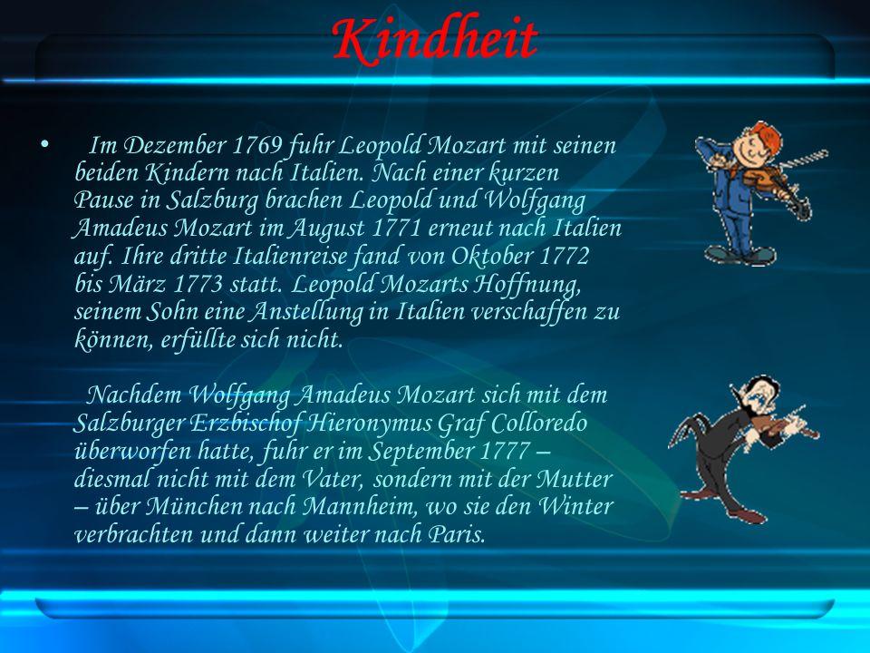 Im Dezember 1769 fuhr Leopold Mozart mit seinen beiden Kindern nach Italien. Nach einer kurzen Pause in Salzburg brachen Leopold und Wolfgang Amadeus