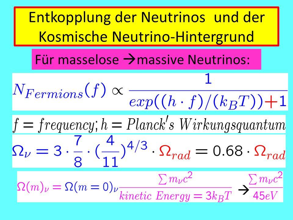 Entkopplung der Neutrinos und der Kosmische Neutrino-Hintergrund Für masselose  massive Neutrinos: 