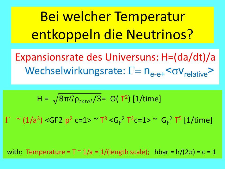 Bei welcher Temperatur entkoppeln die Neutrinos? Expansionsrate des Universuns: H=(da/dt)/a Wechselwirkungsrate:  n e-e+