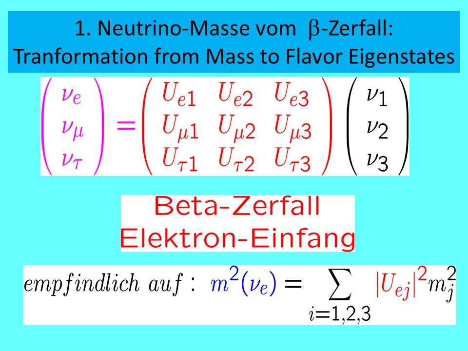 1. Neutrino-Masse vom  -Zerfall: Tranformation from Mass to Flavor Eigenstates