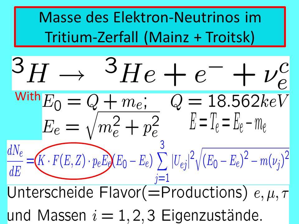 Masse des Elektron-Neutrinos im Tritium-Zerfall (Mainz + Troitsk) With:
