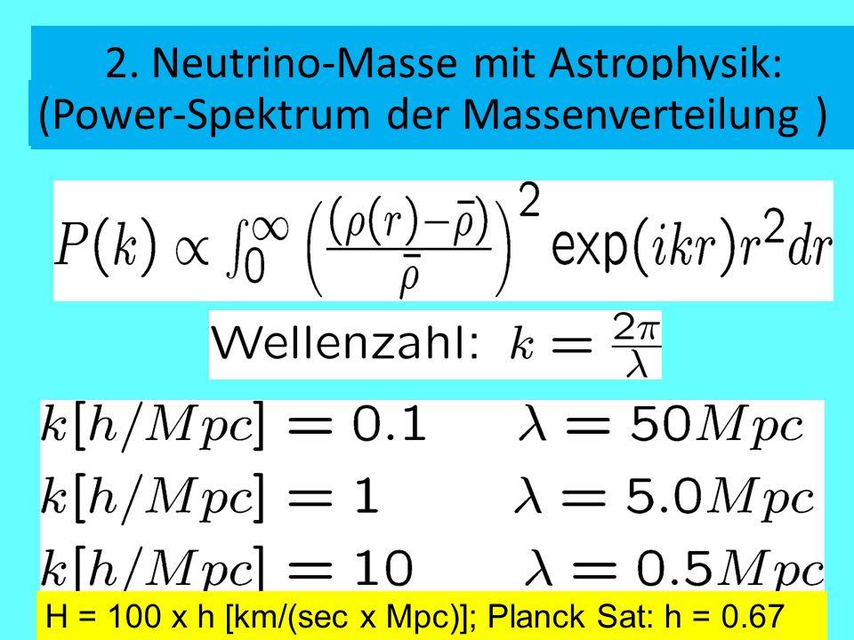 2. Neutrino-Masse mit Astrophysik: Dichteverteilung der Materie im Universum (Power-Spektrum der Massenverteilung ) H = 100 x h [km/(sec x Mpc)]; Plan