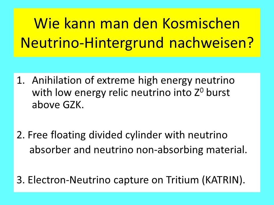 Wie kann man den Kosmischen Neutrino-Hintergrund nachweisen? 1.Anihilation of extreme high energy neutrino with low energy relic neutrino into Z 0 bur