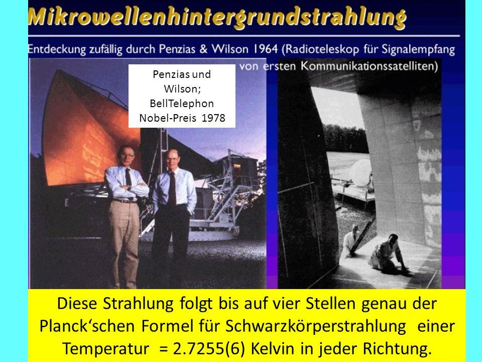 Penzias und Wilson; BellTelephon Nobel-Preis 1978 Diese Strahlung folgt bis auf vier Stellen genau der Planck'schen Formel für Schwarzkörperstrahlung einer Temperatur = 2.7255(6) Kelvin in jeder Richtung.