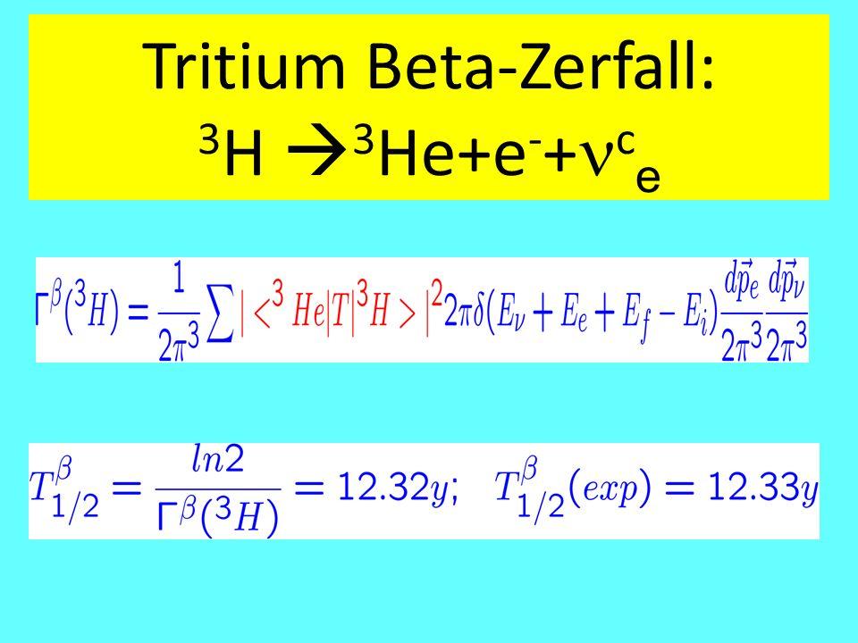 Tritium Beta-Zerfall: 3 H  3 He+e - + c e