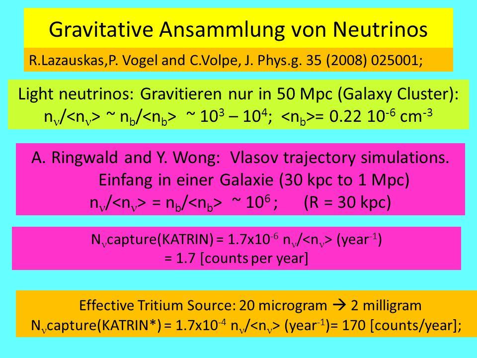 Gravitative Ansammlung von Neutrinos R.Lazauskas,P. Vogel and C.Volpe, J. Phys.g. 35 (2008) 025001; Light neutrinos: Gravitieren nur in 50 Mpc (Galaxy